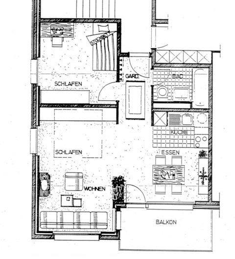 Bettina 2.5 Zimmerwohnung 1.Stock mit Südwestbalkon.